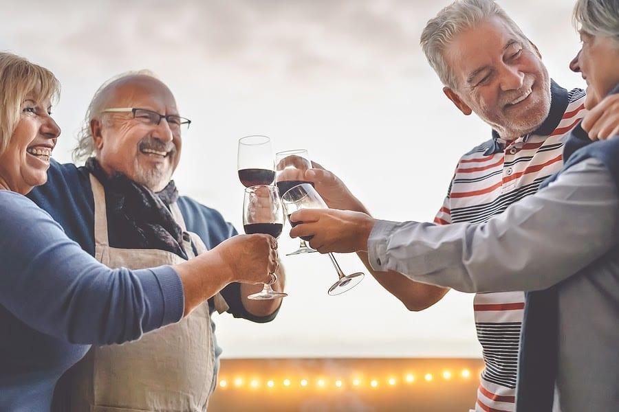 Seniors Drinking Wine