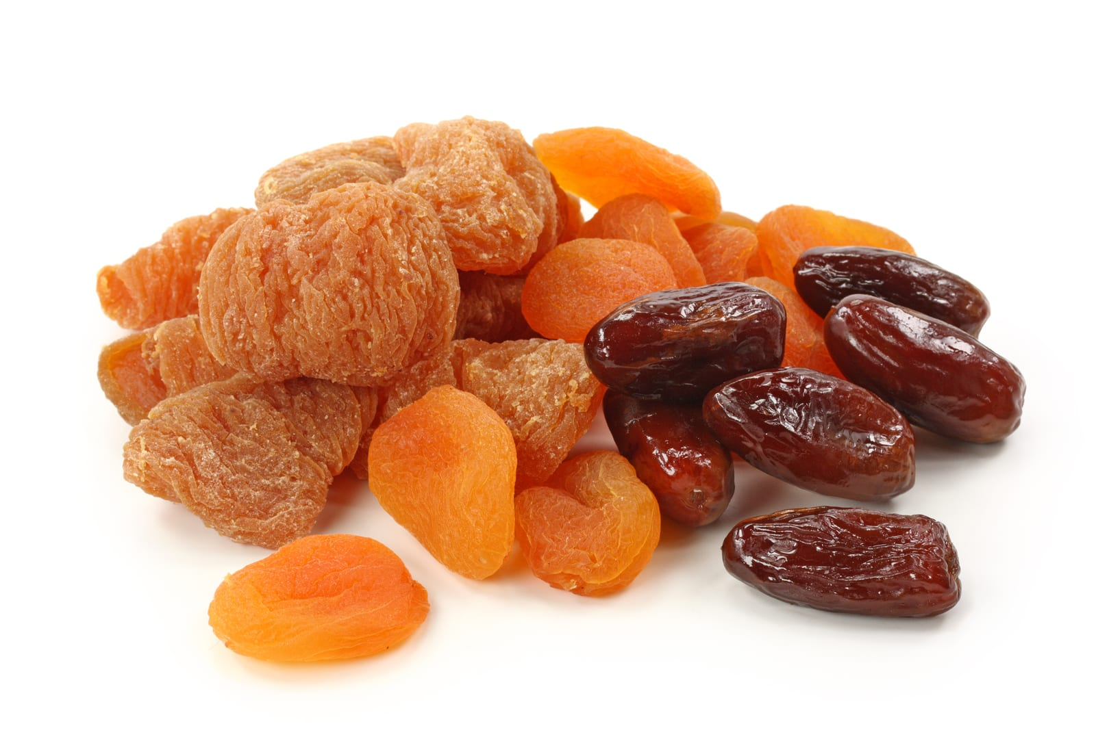 Dried fruits isolated on a white background