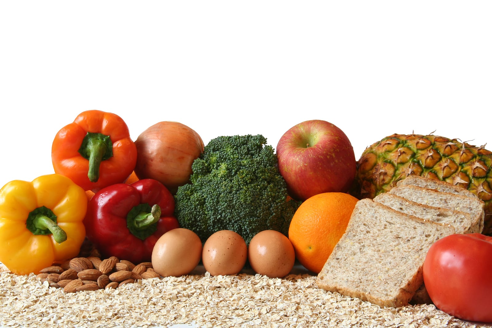 variety of fresh healthy foods fruits vegetables whole grains and dairy.