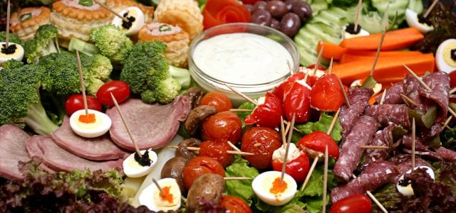 snack platter with meat and egg and veg